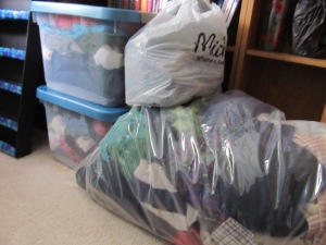 After the wardrobe clean-up, this was the stack of donations. I've since added to it.