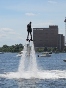 This guy was so cool! This was the Miami Fly Boards demonstration - Jet pack propulsion!