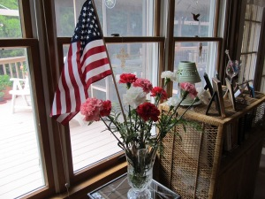 The flag among the beautiful carnations Mom  got from Norfolk Florist.