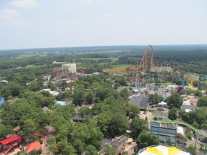 Panorama of the park, including Volcano and Intimidator 305.