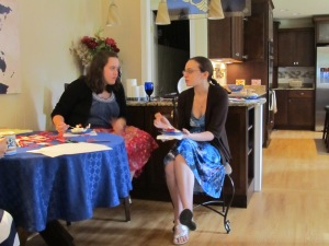 Katie, one of my bridesmaids, and Melissa, my maid of honor, get to know each other.