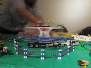 The carnival ride was hooked up to a battery-operated motor, and it went really fast!