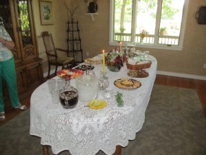 The gorgeous table, prepared by Carolyn and Suzie.
