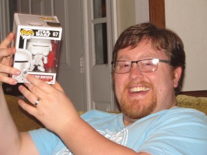 Justin gave Al a Funko Pop! Star Wars First Order Snowtrooper!
