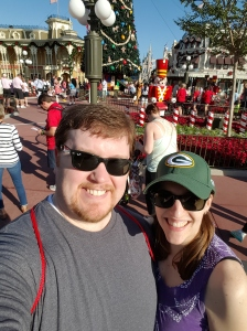 All of Disney World had their Christmas decorations up! This was just beyond the entrance to the Magic Kingdom.