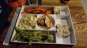 We both got bento boxes - Sushi and a burger slider in the middle! So good!