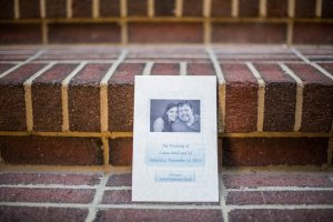 Our program on the brick steps leading to the sanctuary.