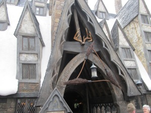The entrance to Three Broomsticks.